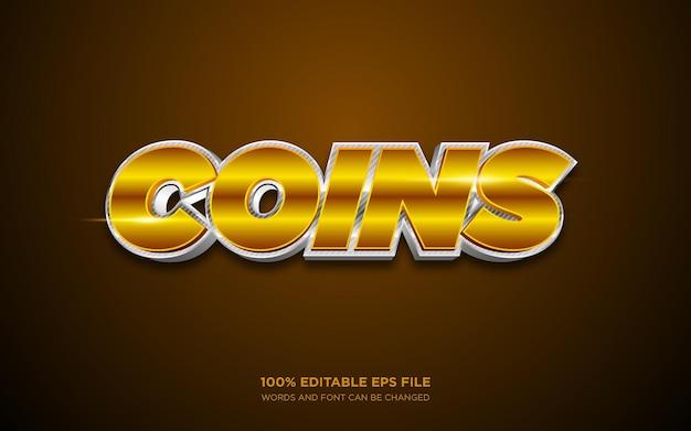 Efeito de estilo de texto editável 3d de moedas