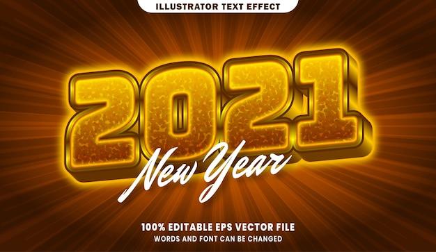 Efeito de estilo de texto editável 3d do ano novo de 2021