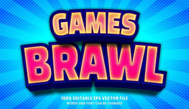 Efeito de estilo de texto editável 3d do games briga