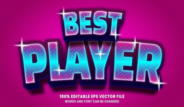 Efeito de estilo de texto editável 3d do melhor jogador