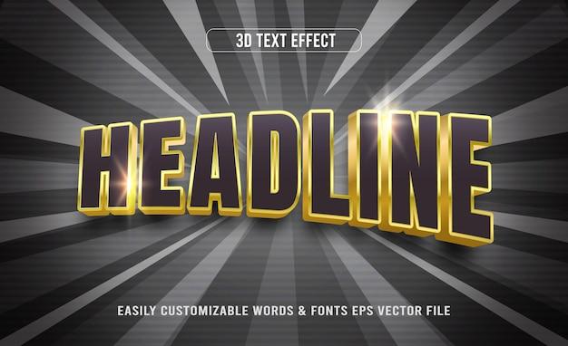 Efeito de estilo de texto editável 3d do título preto e dourado