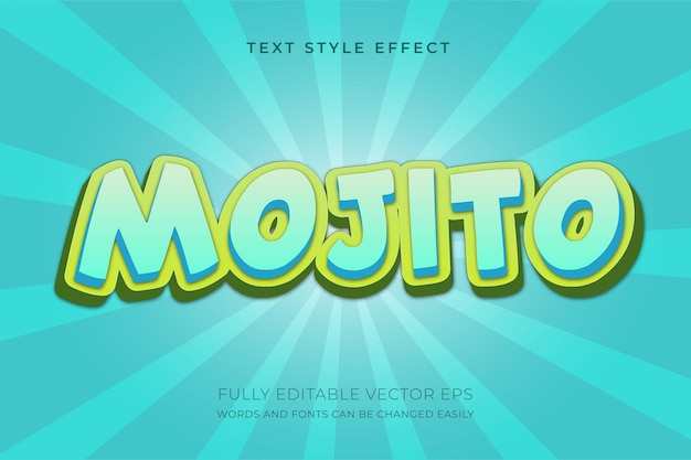 Efeito de estilo de texto editável 3d fresco mojito juice