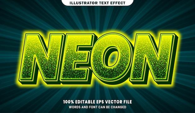 Efeito de estilo de texto editável 3d neon
