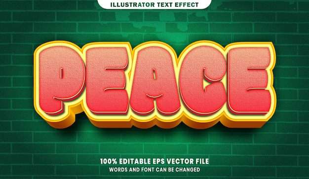 Efeito de estilo de texto editável 3d peace