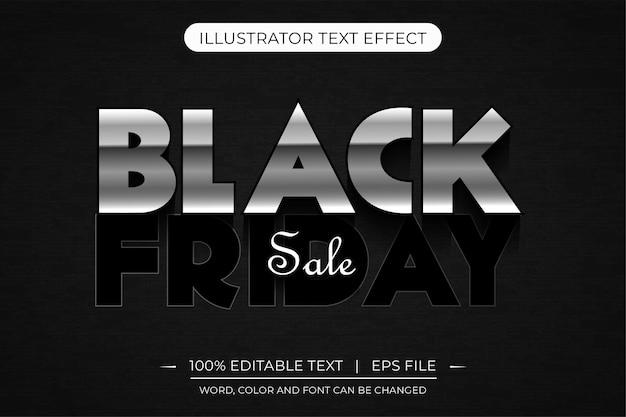 Efeito de estilo de texto editável 3d prata preto sexta-feira