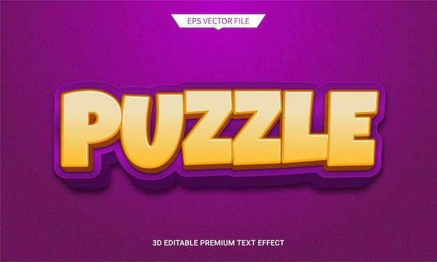 Efeito de estilo de texto editável 3d puzzle quest