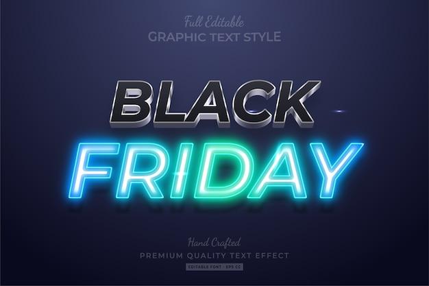 Efeito de estilo de texto editável black friday neon