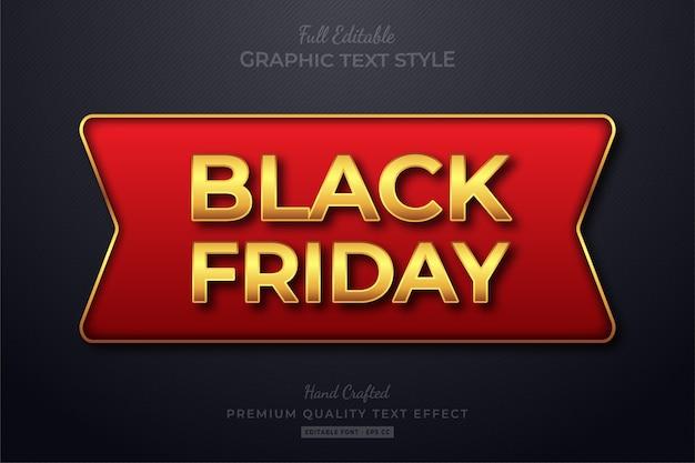 Efeito de estilo de texto editável black friday red gold