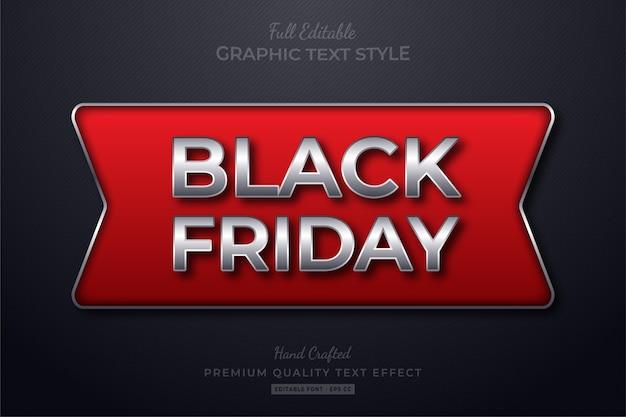 Efeito de estilo de texto editável black friday red silver