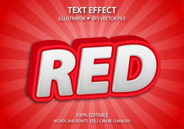 Efeito de estilo de texto editável bonito vermelho