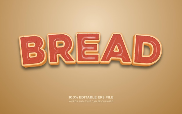 Efeito de estilo de texto editável bread 3d