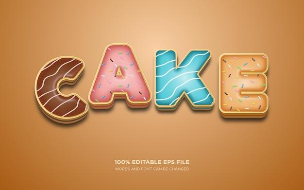 Efeito de estilo de texto editável cake 3d