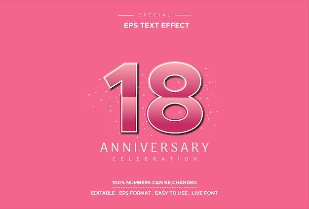 Efeito de estilo de texto editável com números de aniversário