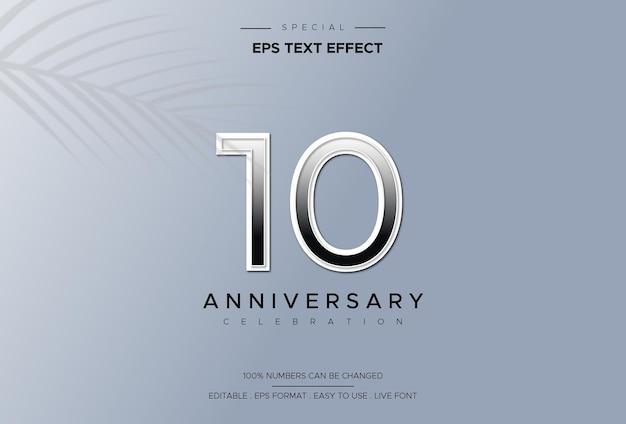 Efeito de estilo de texto editável com números do 10º aniversário