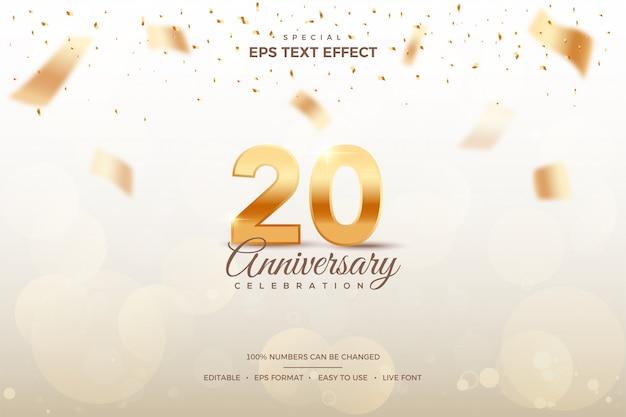 Efeito de estilo de texto editável com números do 20º aniversário.