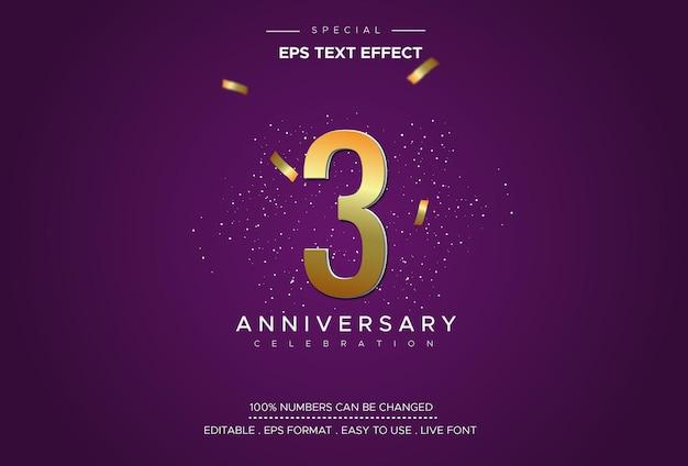 Efeito de estilo de texto editável com números do 3º aniversário Vetor Premium
