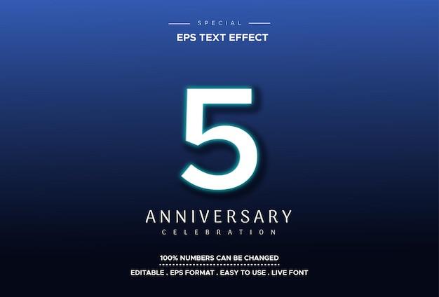 Efeito de estilo de texto editável com números do 5º aniversário