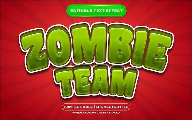Efeito de estilo de texto editável da equipe zumbi adequado para eventos de halloween