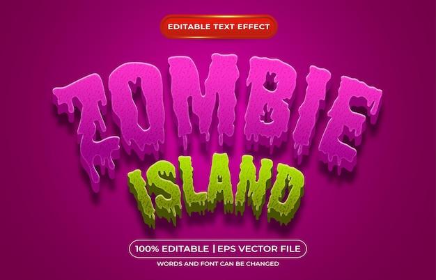Efeito de estilo de texto editável da ilha zombie adequado para o tema do evento de halloween