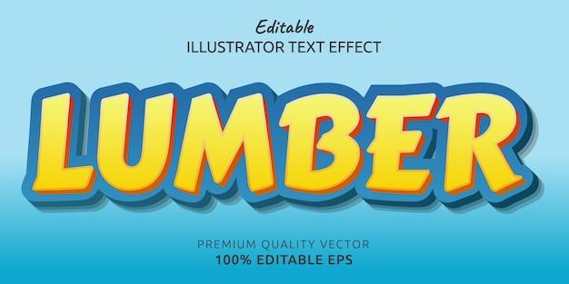 Efeito de estilo de texto editável da madeira serrada