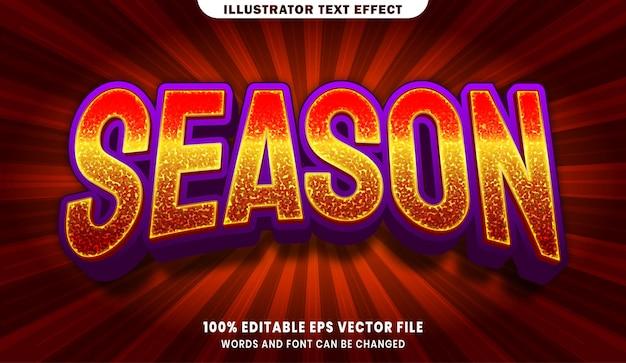 Efeito de estilo de texto editável da temporada 3d