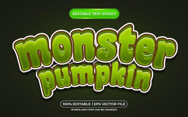 Efeito de estilo de texto editável de abóbora monstro adequado para evento de halloween