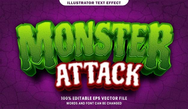 Efeito de estilo de texto editável de ataque de monstro