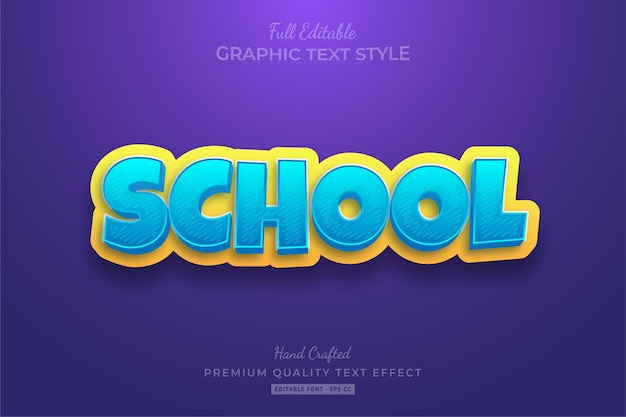 Efeito de estilo de texto editável de desenho animado escolar