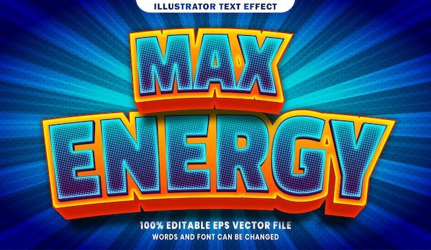 Efeito de estilo de texto editável de energia máxima em 3d