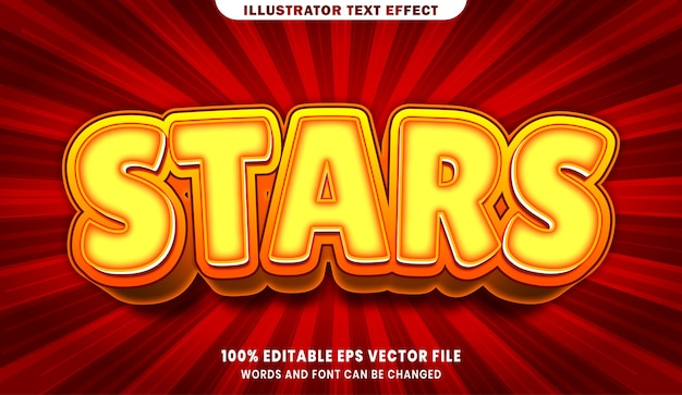 Efeito de estilo de texto editável de estrelas