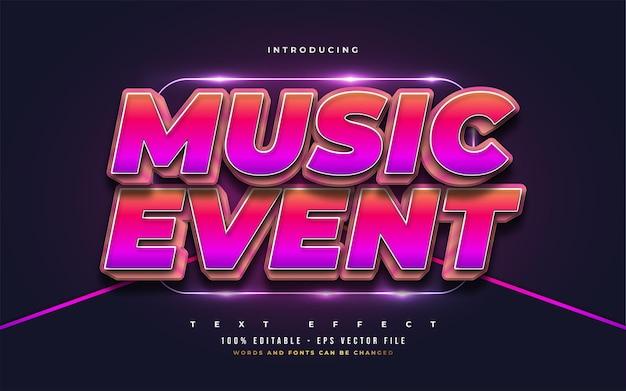 Efeito de estilo de texto editável de evento musical