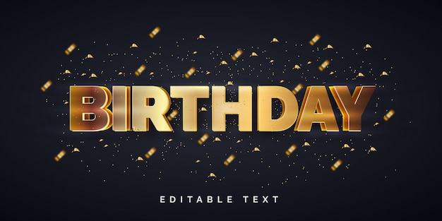 Efeito de estilo de texto editável de feliz aniversário