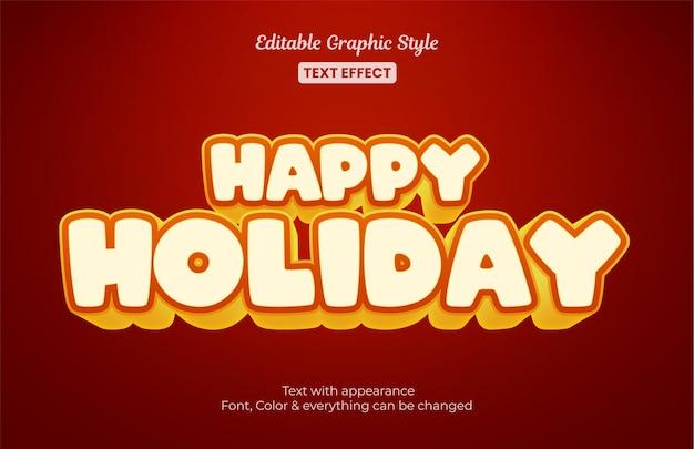 Efeito de estilo de texto editável de feriado vermelho