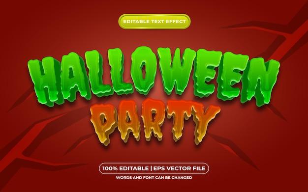 Efeito de estilo de texto editável de festa de halloween adequado para o tema do evento de halloween