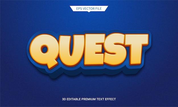 Efeito de estilo de texto editável de jogo e missão em 3d