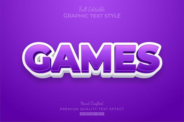Efeito de estilo de texto editável de jogos roxos