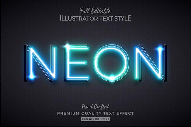 Efeito de estilo de texto editável de néon brilho premium