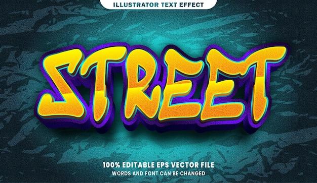 Efeito de estilo de texto editável de rua 3d