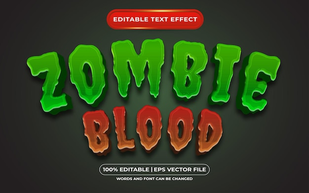 Efeito de estilo de texto editável de sangue zumbi adequado para o tema do evento de halloween