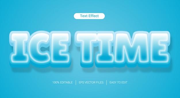 Efeito de estilo de texto editável de textura 3d gelado