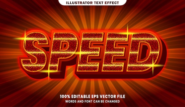 Efeito de estilo de texto editável de velocidade 3d