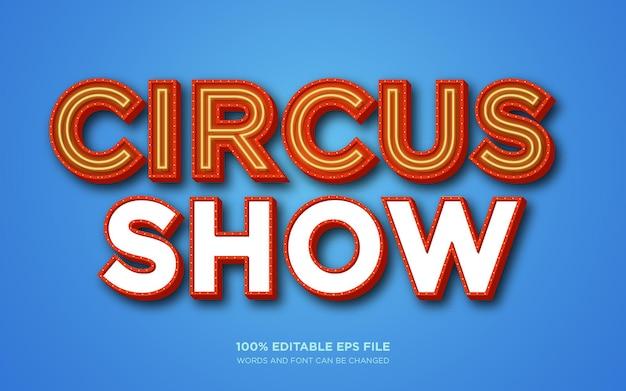 Efeito de estilo de texto editável do circus show 3d