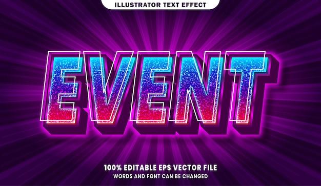 Efeito de estilo de texto editável do evento em 3d