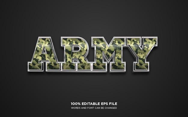 Efeito de estilo de texto editável do exército 3d