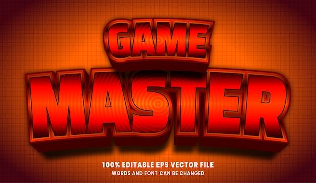 Efeito de estilo de texto editável do mestre do jogo em 3d