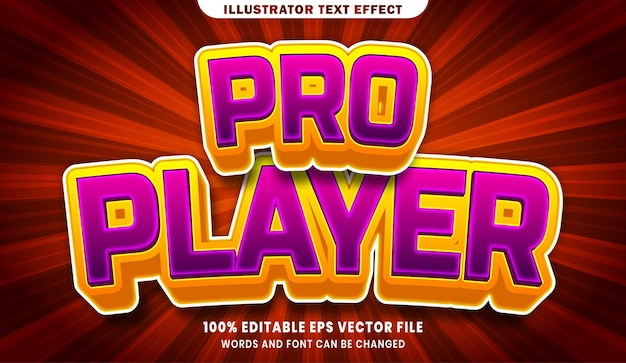 Efeito de estilo de texto editável do pro player 3d