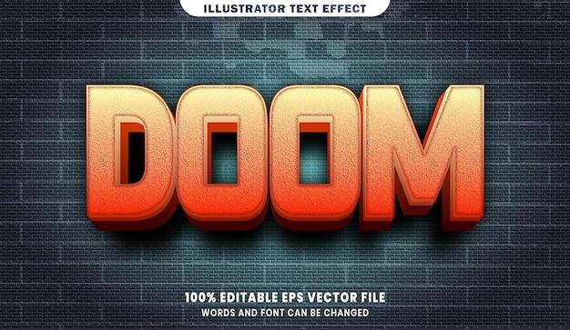 Efeito de estilo de texto editável doom 3d