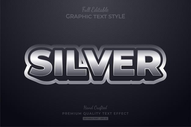 Efeito de estilo de texto editável elegante prata