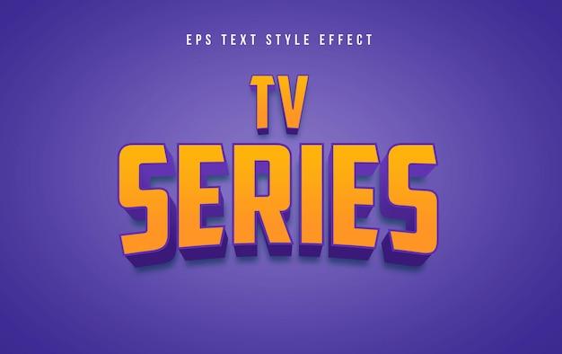 Efeito de estilo de texto editável em 3d amarelo da série de tv