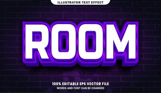 Efeito de estilo de texto editável em 3d da sala